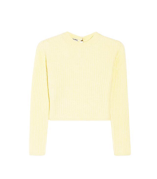 Miu Miu Cropped Ribbed Cashmere Sweater