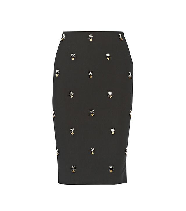 Elizabeth and James Lima Embellished Stretch-Ponte Skirt