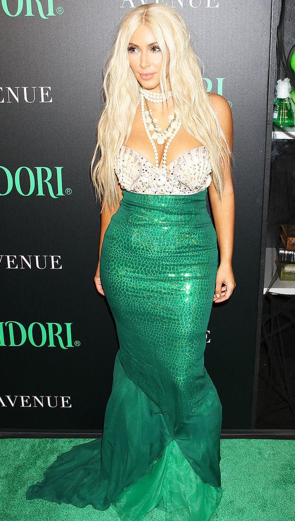 WHO: Kim Kardashian West WHAT: Kim made a big splash in her mermaid costume at the Midori Halloween party.