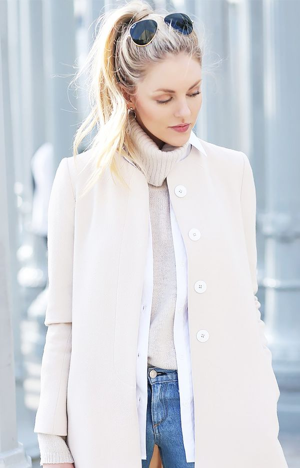 Collarless Coat + Button-Down Shirt + Turtleneck