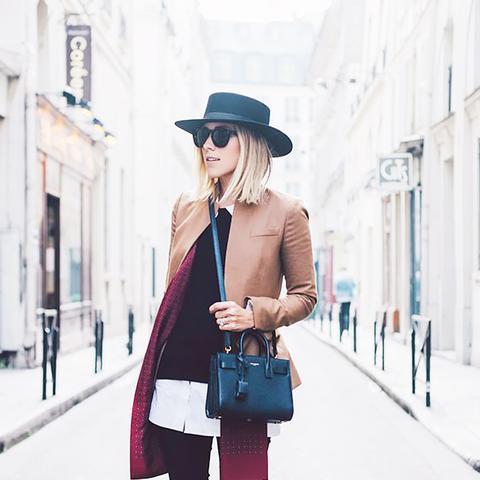 Street Style Layering Damsel in Dior Hat Blazer