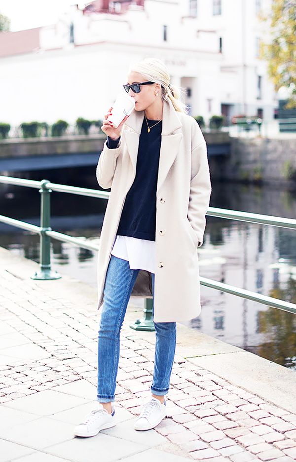Car Coat + Sweater + Long T-Shirt