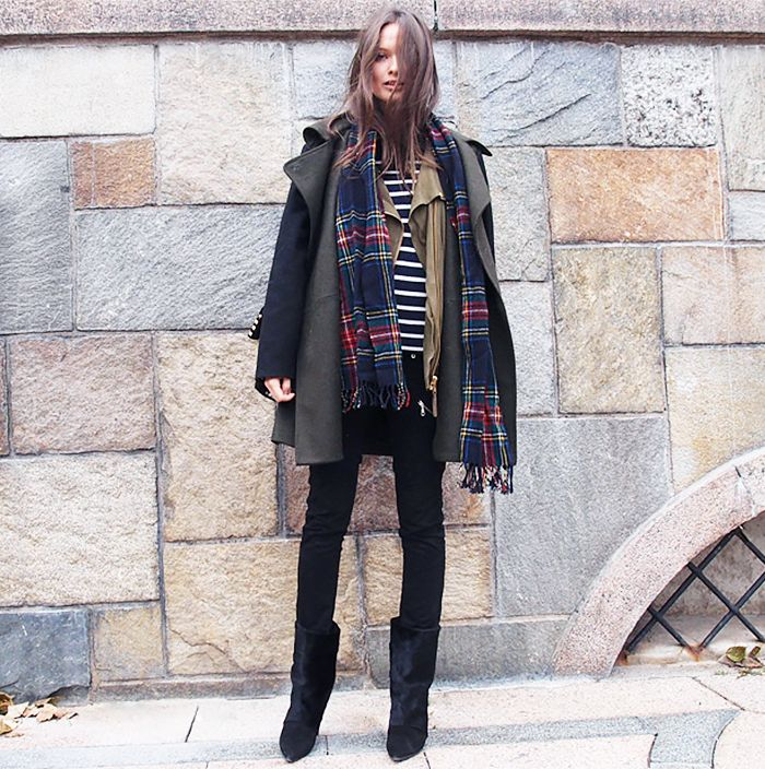 Street Style Layering Columbine Smille Plaid Scarf