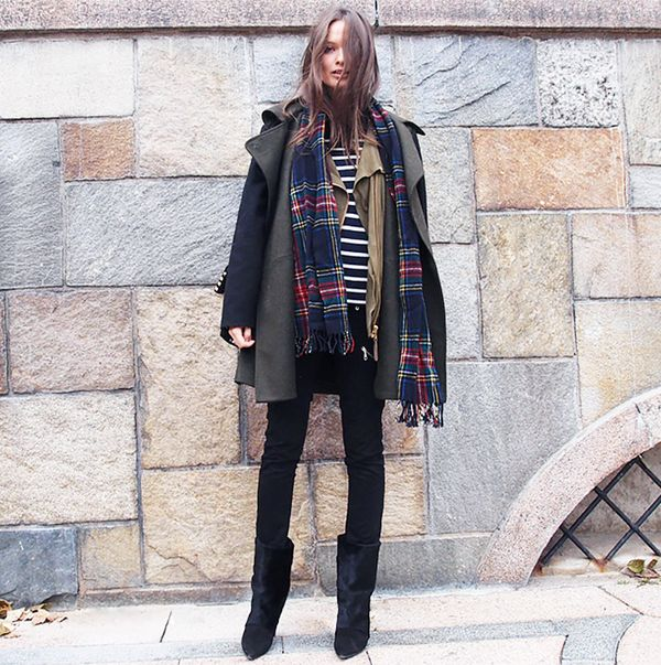 Coat + Field Vest + Striped Tee