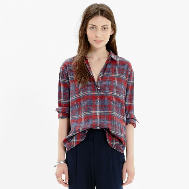 Madewell Flannel Oversized Boyshirt in Bainbridge Plaid