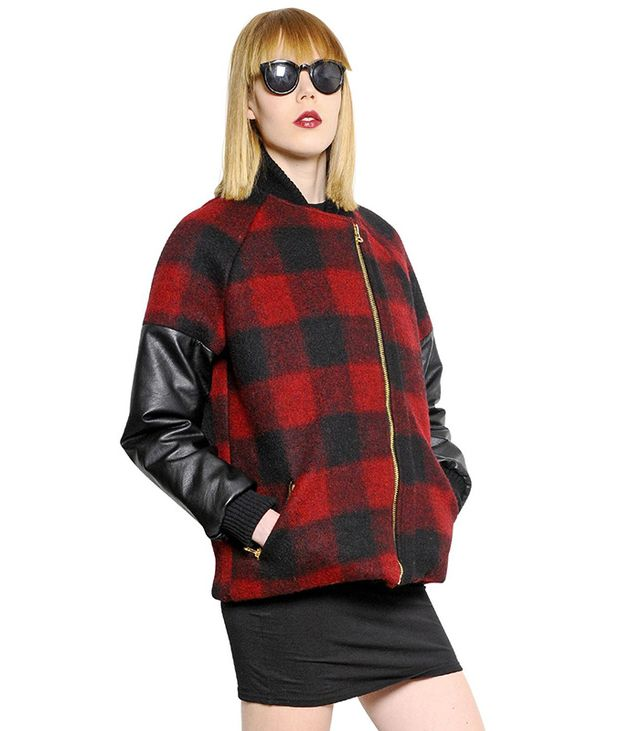That's It Checked Brushed Wool Felt Bomber Jacket