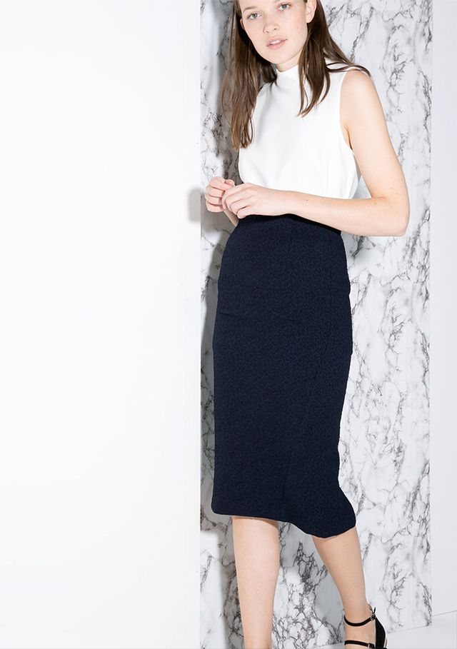 Mango Textured Pencil Skirt