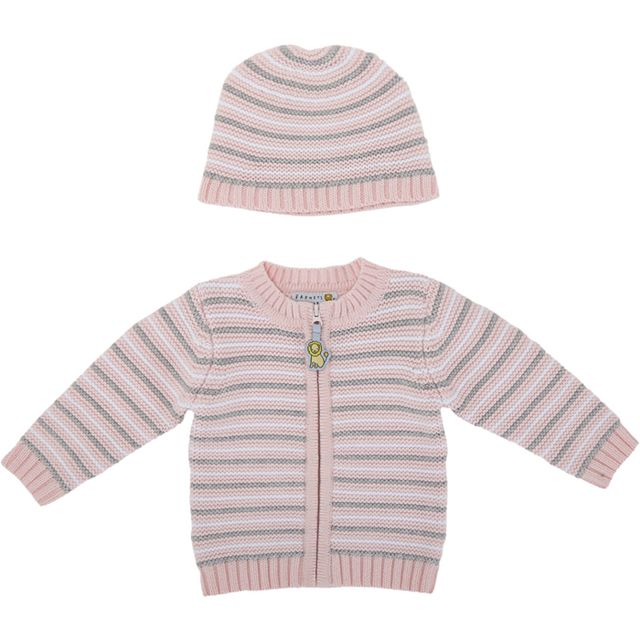 Barneys New York Stripe Thermal-Stitch Cardigan & Hat