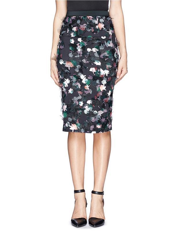 Tanya Taylor Peggy Floral Print Washi Organza Pencil Skirt