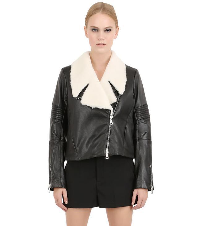 Liven Glazed Nappa Leather & Shearling Jacket