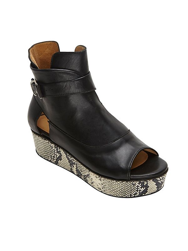 Thakoon Addition Stamped Python Wedge Open Toe Booties
