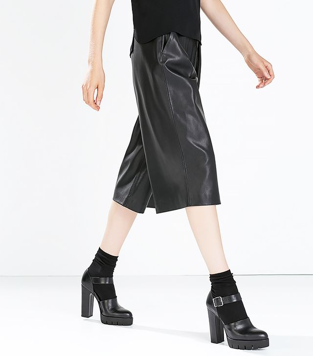 Zara Faux Leather Loose-Trousers