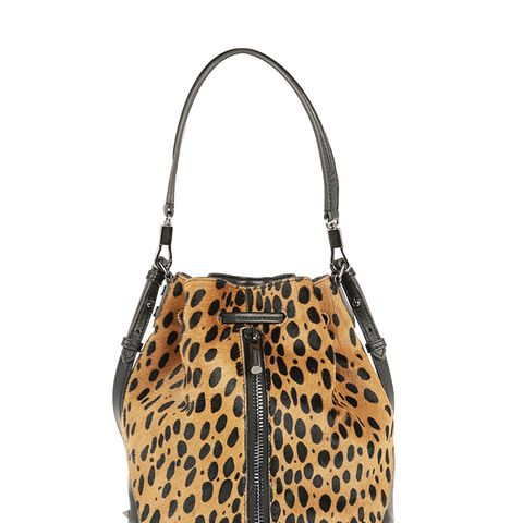 Cynnie Mini Animal-Print Calf Hair Shoulder Bag