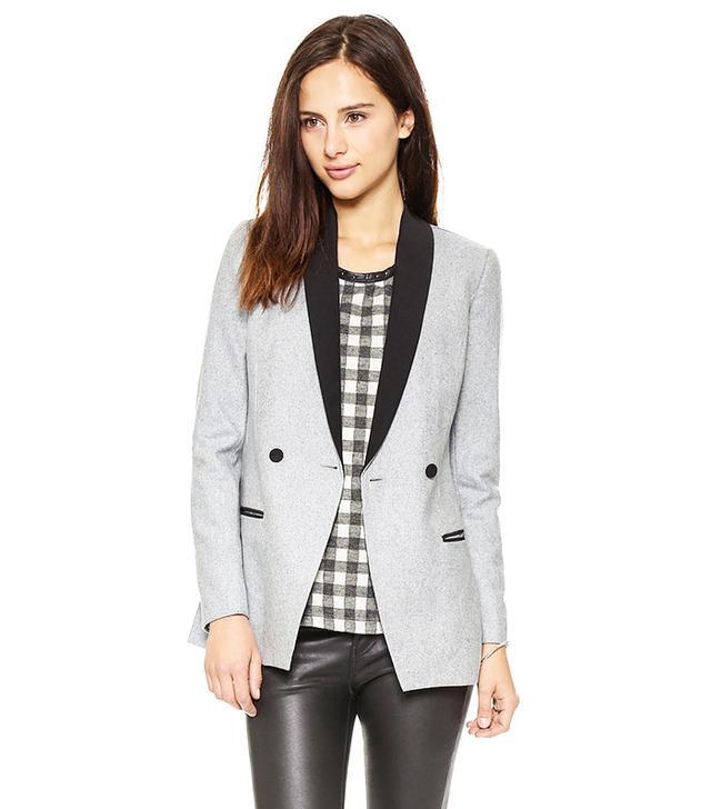Maison Scotch Wool-Blend Long Tuxedo Blazer
