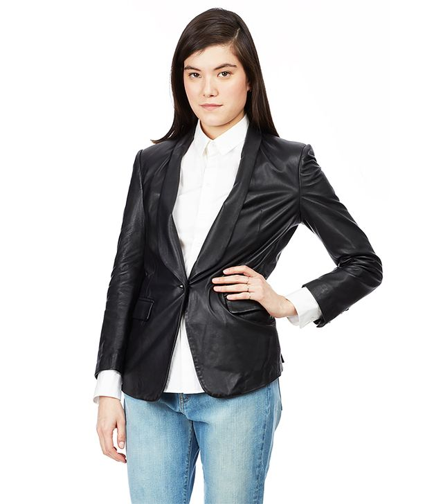 Band of Outsiders Soft Leather Shawl Collar Blazer
