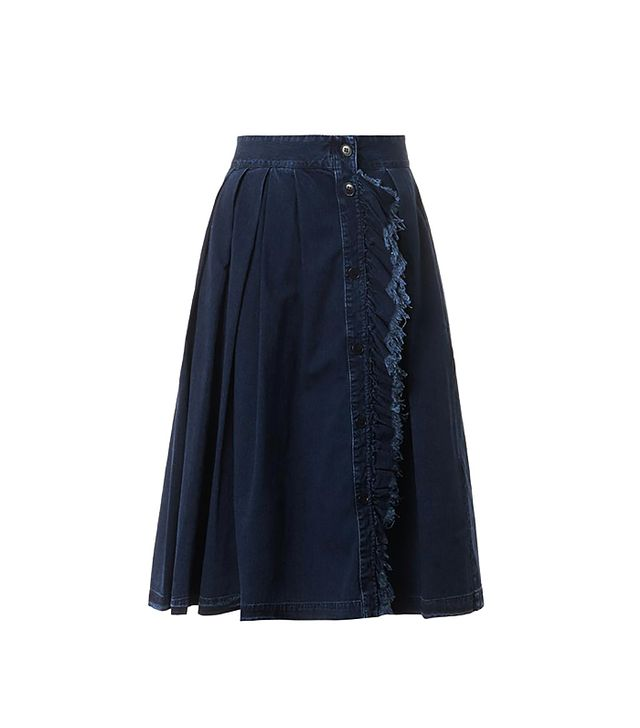 Band Of Outsiders Ruffle-Front Pleated Denim Skirt