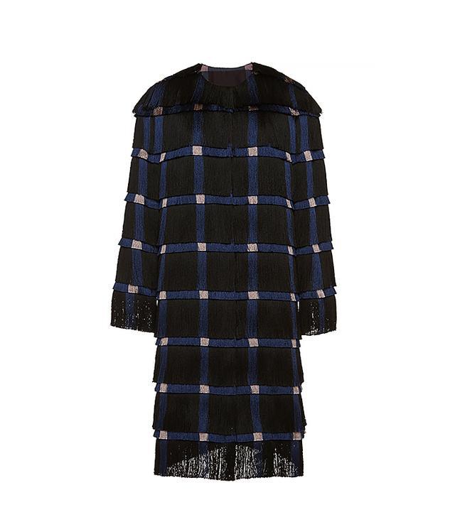 Marco De Vincenzo Fringe Cady Coat In Black And Blue Fringes