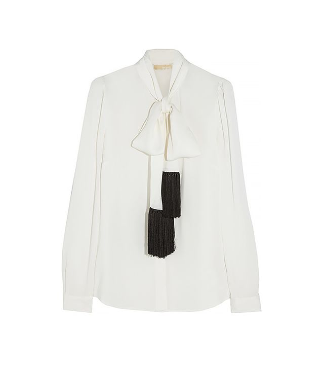 Michael by Michael Kors Fringed Pussy-Bow Silk Blouse