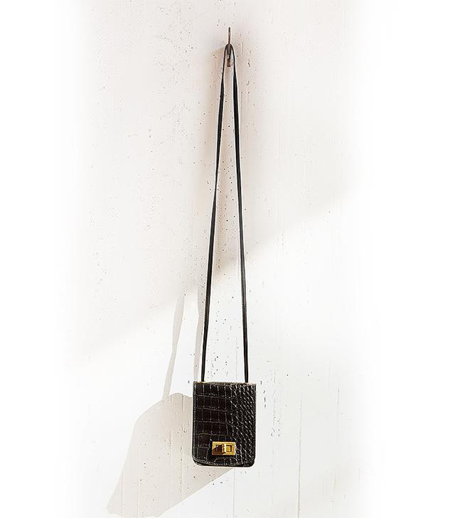 Silence + Noise Croc-Embossed Crossbody Bag