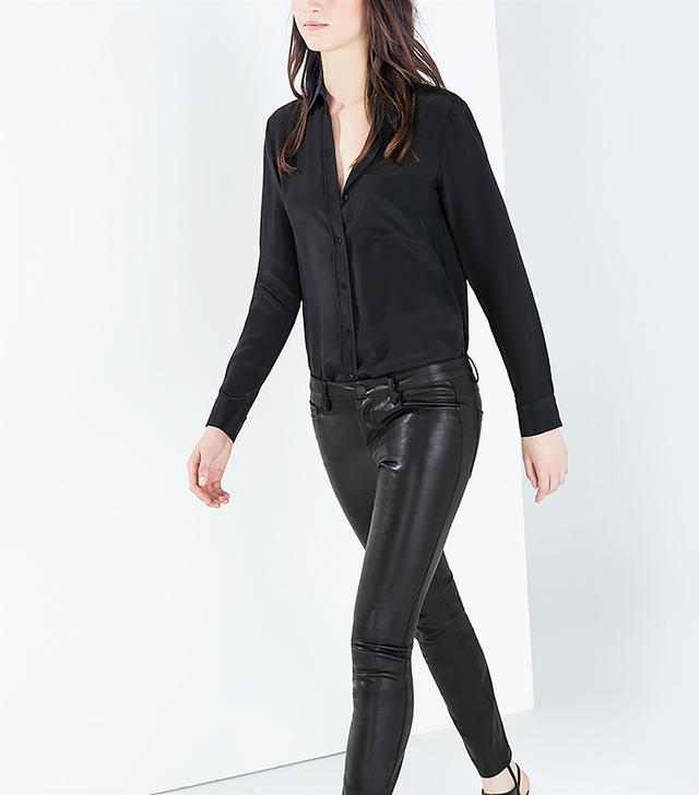 Zara Faux Leather Skinny Jeans