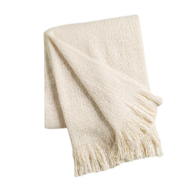 Cost Plus World Market Ivory Lofty Faux Mohair Throw