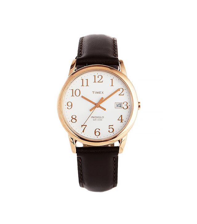 Timex Originals Leather Strap Watch With Gold Detail