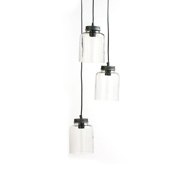 Cost Plus World Market 3-Jar Glass Hanging Pendant Lamp