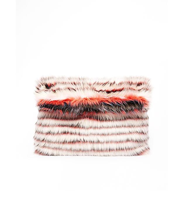 ASOS Stripe Fur Roll Top Clutch Bag