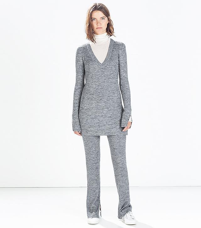 Zara Ribbed V-Neck Sweater