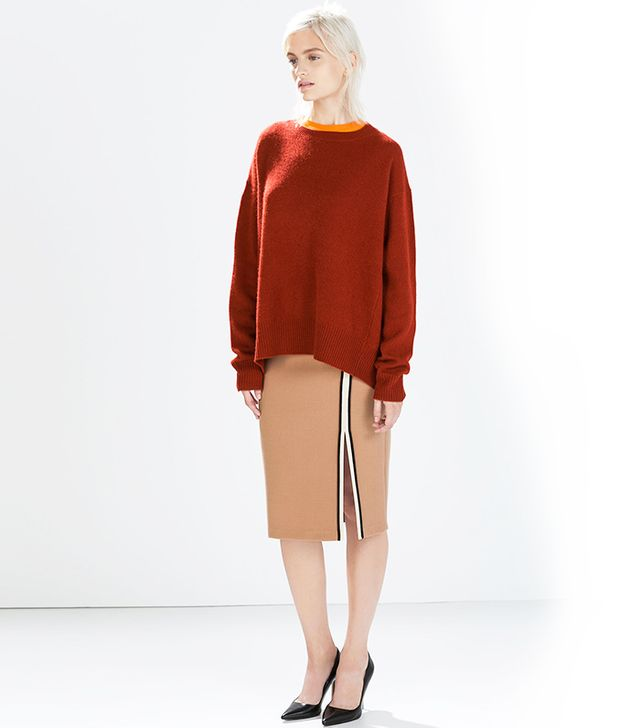 Zara Tube Skirt With Slit And Piping