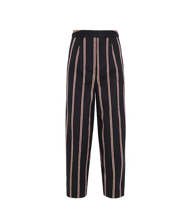 Elizabeth And James Tilded Striped Wool-Blend Wide-Leg Pants