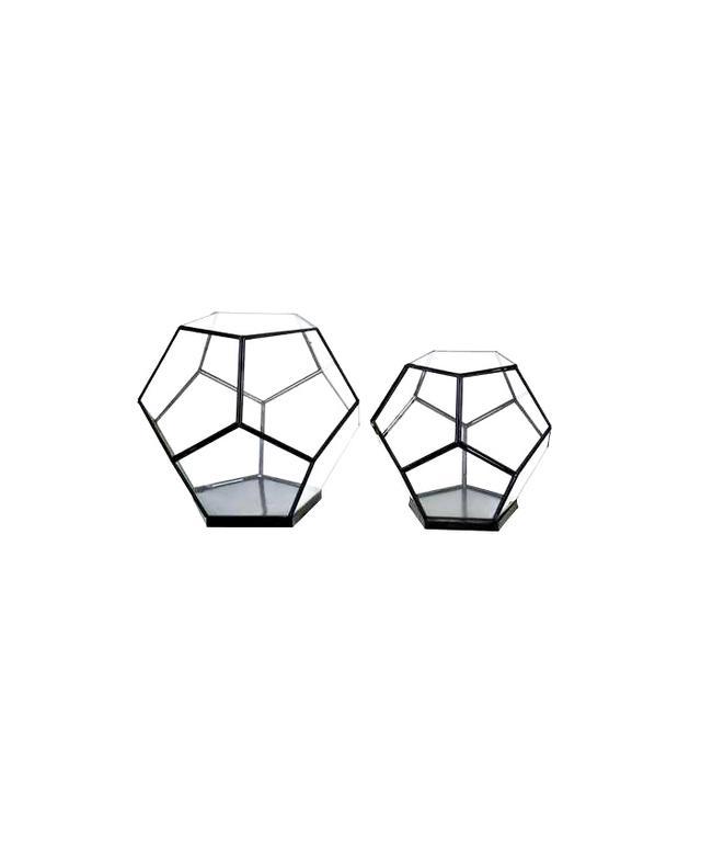 Three Hands Set of 2 Octaganal Glass Terrarium
