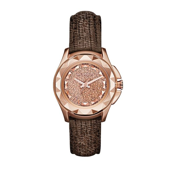 Karl Lagerfeld Women's Karl 7 Brown Lizard-Textured Leather Strap Watch Karl Lagerfeld