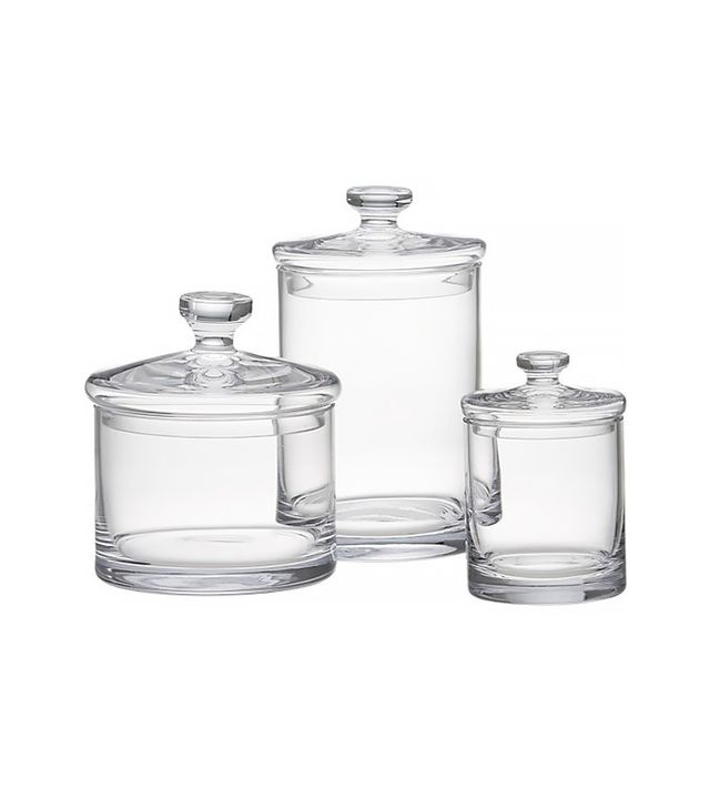 Crate & Barrel Set of Three Glass Canisters