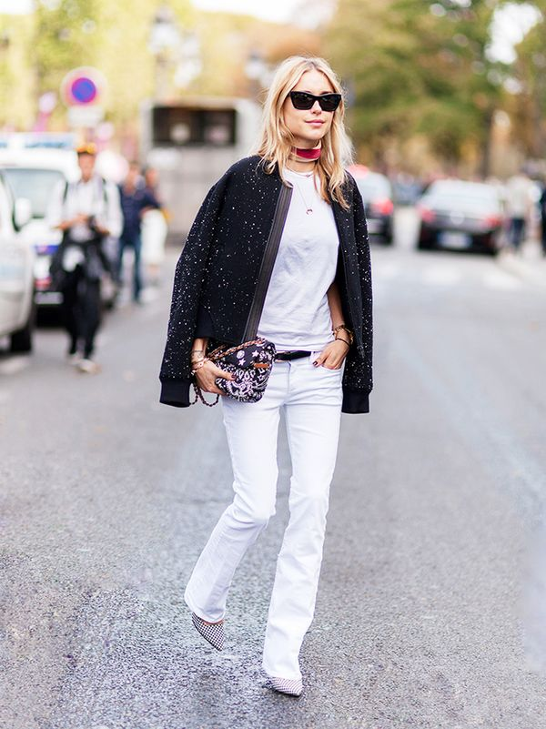 Bomber Jacket + Flared Jeans + Printed Pointed-Toe Heels