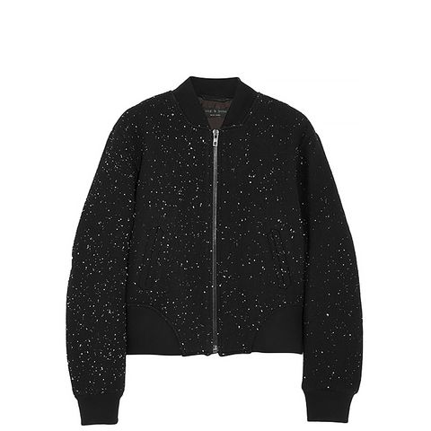 Challenge Embroidered Textured-Jersey Bomber Jacket