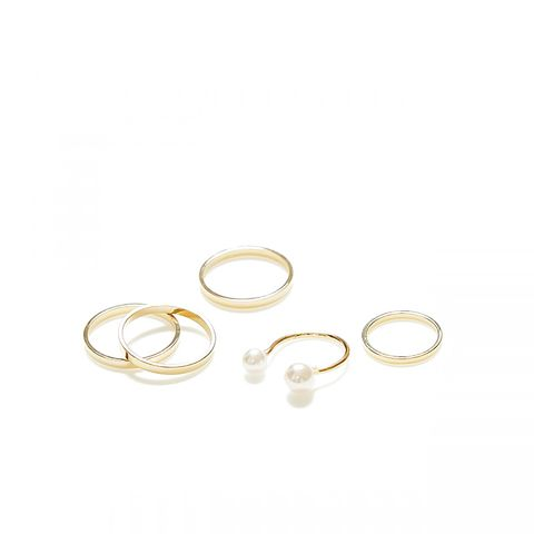 Double Pearl Ring and Midi Ring Set