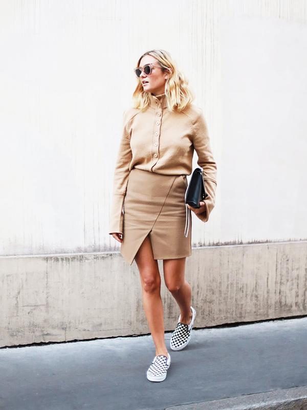 Turtleneck Sweater + Wrap-Style Skirt + Sneakers