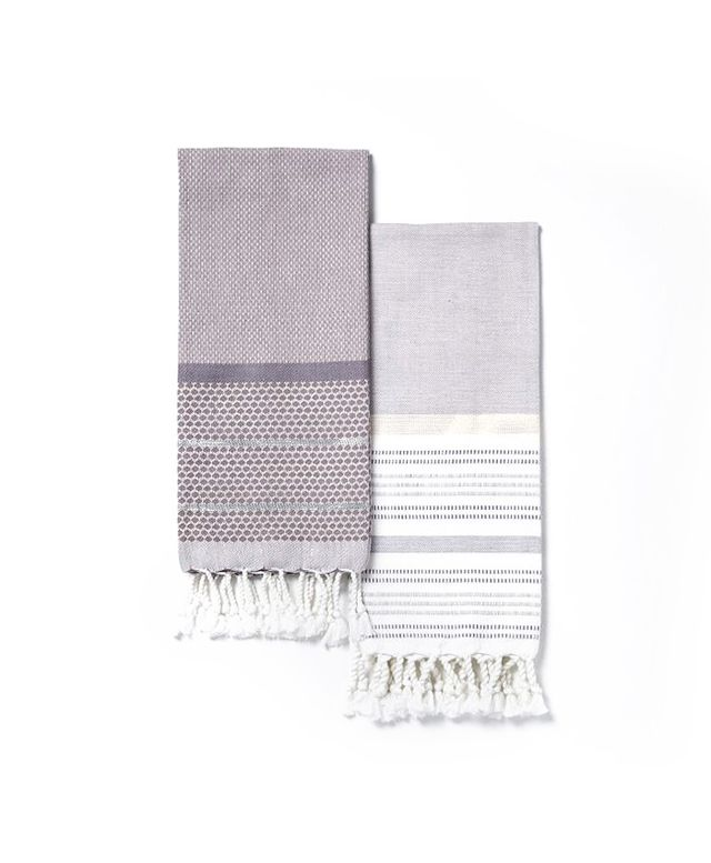 West Elm Striped Gem + Border Stripe Hammam Hand Towel Set