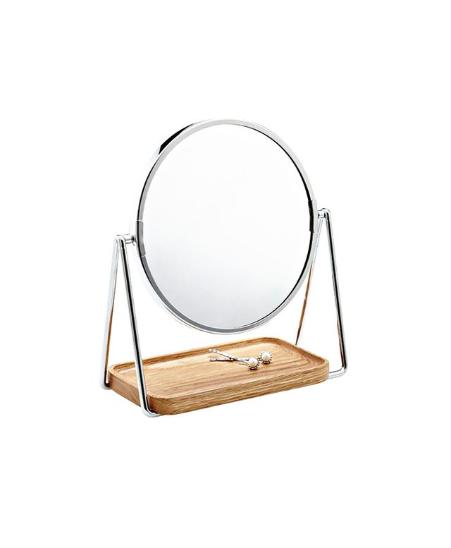 The Container Store Swivel Mirror & Oak Tray