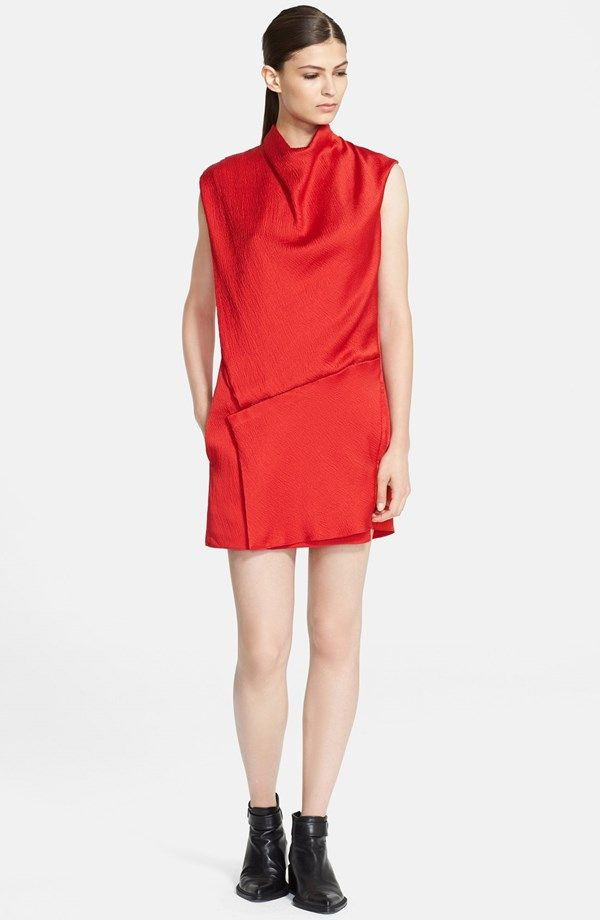 Helmut Lang 'Gravel' Drape Neck Silk Dress