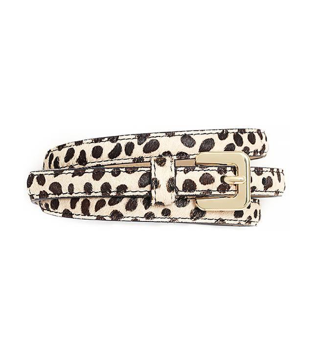 Ann Taylor Perfect Cheetah Print Calf Hair Skinny Belt