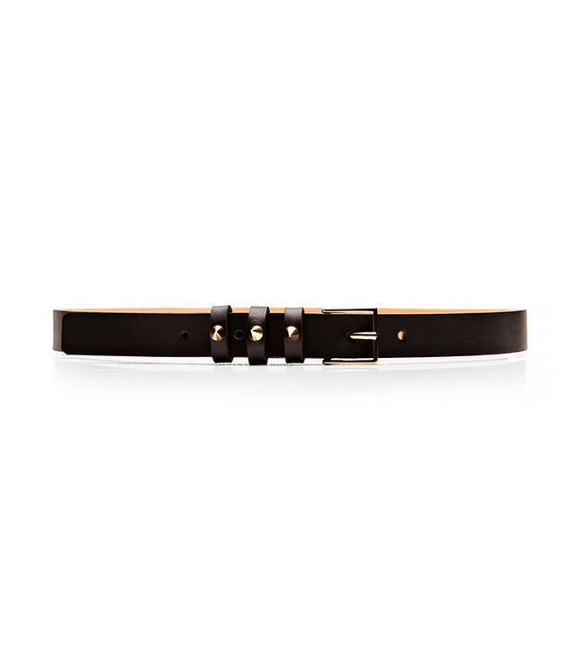 Maison Boinet Studded Textured Leather Skinny Belt