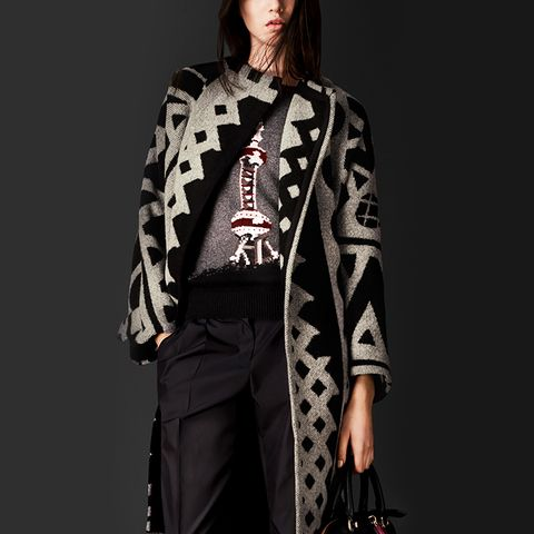 Graphic Jacquard Blanket Coat