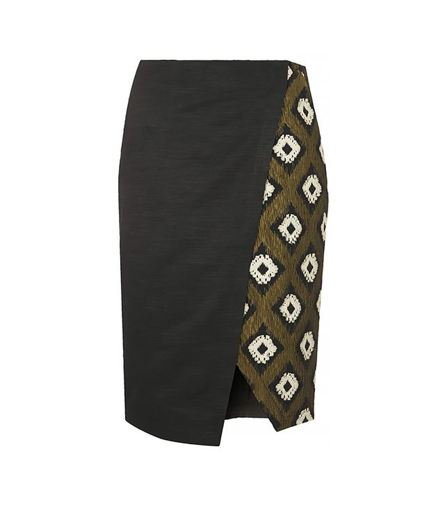 Topshop Hybrid Print Wrap Pencil Skirt