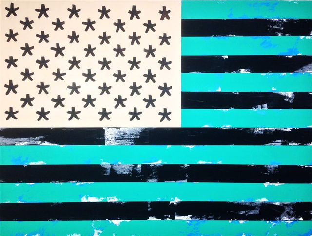 "David Barash ""Old Glory, Inverted"", 30""x40"""