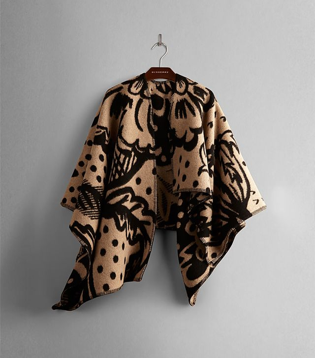 Burberry Thistle Motif Blanket Poncho