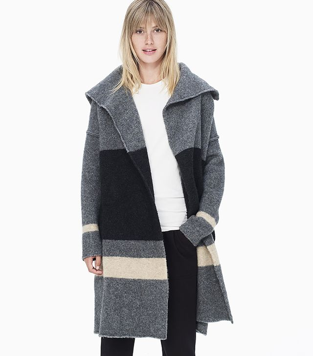 James Perse Striped Blanket Sweater Coat