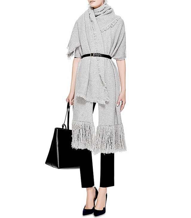 Thakoon Addition Fringed Knit Wool Poncho