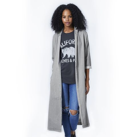 Moto Denim Duster Coat